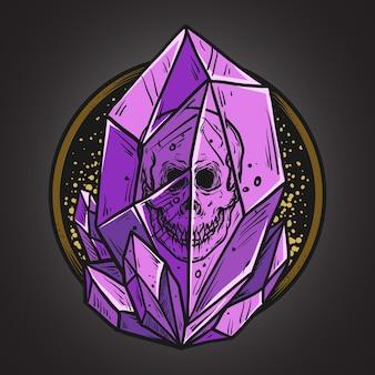 Illustrazione di opere d'arte e design di t-shirt teschio in pietra di cristallo