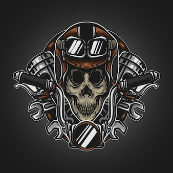 Illustrazione grafica e t-shirt design logo mascotte teschio piloti