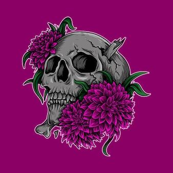 Illustrazione di opere d'arte e teschio di design della maglietta con fiore
