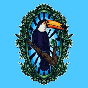 Illustrazione del materiale illustrativo e design della maglietta dell'ornamento dell'incisione del tucano