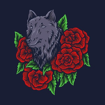 Illustrazione grafica e t-shirt design lupo con rose