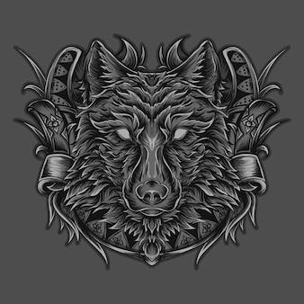 Illustrazione del materiale illustrativo e ornamento dell'incisione del lupo della maglietta Vettore Premium