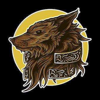 Illustrazione di opere d'arte lupo incisione ornamento