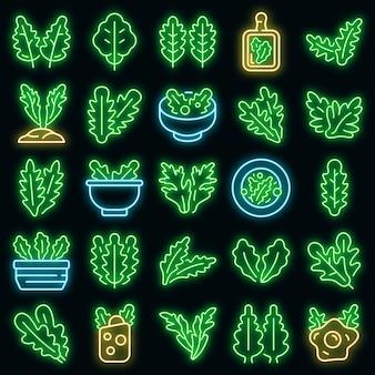 Set di icone di rucola. contorno set di icone vettoriali rucola colore neon su nero