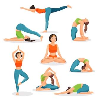 Collezione di asana yoga di ragazze che fanno sport in pose orientali e con persona di sesso femminile in postura lotos nel centro. poster di utili per la salute umana, meditando ed esercitando immagini su bianco