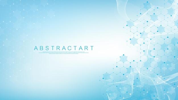Astratto modello di innovazione scientifica del fondo della molecola