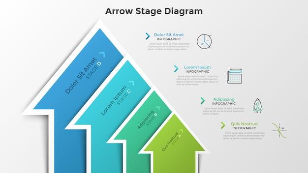 Grafico a barre ascendente con 4 elementi colorati a forma di freccia. schema di fase. modello di progettazione infografica moderna. illustrazione vettoriale per la crescita del business e la visualizzazione del processo di sviluppo progressivo.
