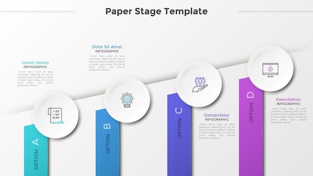 Grafico ascendente con quattro rettangoli colorati, icone a linee sottili in cerchi bianchi di carta e posto per il testo. concetto di 4 fasi di avanzamento aziendale. modello di progettazione infografica. illustrazione vettoriale.