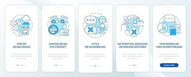 Asd accede alla schermata della pagina dell'app mobile a bordo dei bambini. pochi sorrisi, nessun gesto guida in 5 passaggi istruzioni grafiche con concetti. modello vettoriale ui, ux, gui con illustrazioni a colori lineari