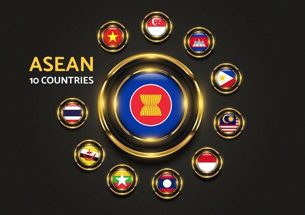 Grafica di bandiera d'oro di lusso di 10 paesi di asean Vettore Premium