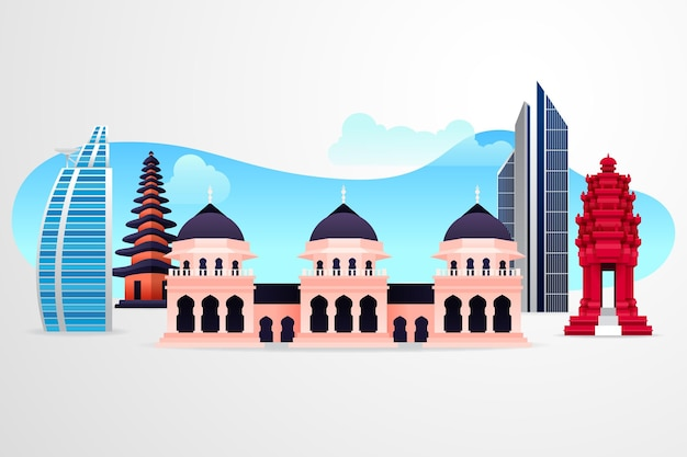 Illustrazione di edifici asean