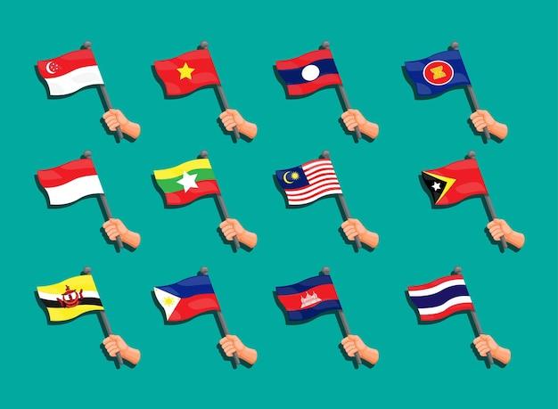 Collezione di bandiere asean