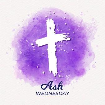 Croce del mercoledì delle ceneri in acquerello