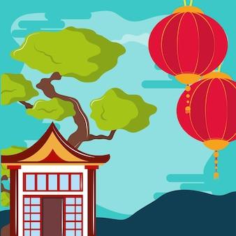 Paesaggio della casa dell'asia