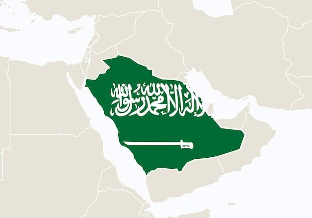 Asia con mappa dell'arabia saudita evidenziata. illustrazione di vettore.
