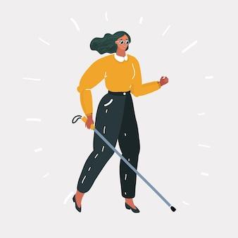 Donna cieca asiatica in piedi con il bastone da passeggio a casa. giovane donna cieca con gli occhiali scuri in piedi con la canna da zucchero a casa. donna cieca che cammina con il bastone. illustrazione di design piatto vettoriale. disposizione quadrata.