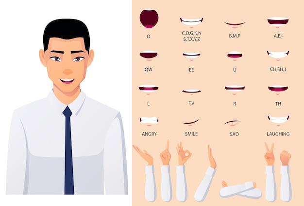 Personaggio d'affari asiatico set di animazione lip-syn e mouth