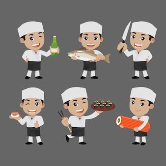 Chef asiatico che tiene in mano un cuoco giapponese