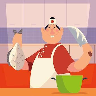 Chef asiatico con pesci e illustrazione di vettore del ristorante professionale del lavoratore del coltello