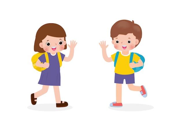 Bambini asiatici con lo zaino che salutano i personaggi dei cartoni animati dei compagni di scuola ragazzo e ragazza