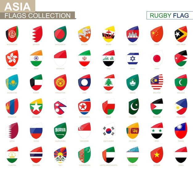 Collezione di bandiere dei paesi asiatici. insieme della bandiera di rugby. illustrazione di vettore.
