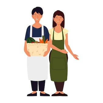 Coppia asiatica con cesto pieno di verdure illustrazione