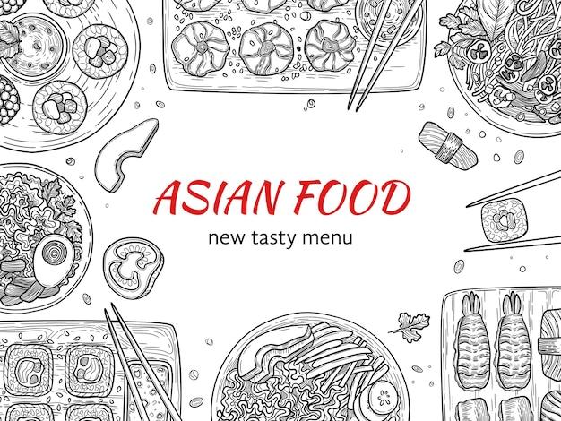 Cucina asiatica. il cibo delizioso del ristorante tradizionale giapponese nei piatti scarabocchia il fondo dei sushi. illustrazione pranzo giappone gourmet, sushi giapponese disegno delizioso