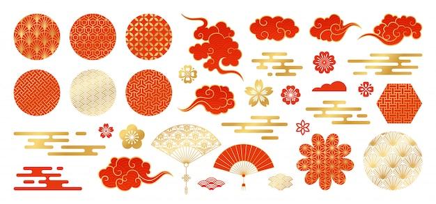Set di elementi di design asiatico.