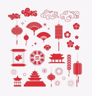 Elementi asiatici ses collezione decorativa di ornamenti di lanterne in stile cinese e giapponese per l'illustrazione di vettore del manifesto dell'invito del volantino del biglietto di auguri
