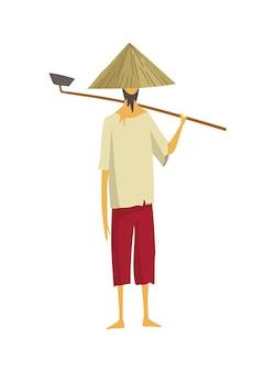 Contadino asiatico in cappello conico di paglia. cultura rurale dell'asia. contadino cinese che porta la zappa sulle spalle. illustrazione del fumetto vettoriale
