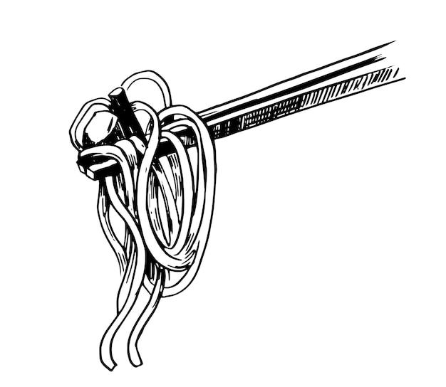 Asian fast food wok chiness senza spaghetti nella scatola illustrazione disegnata a mano vettoriale