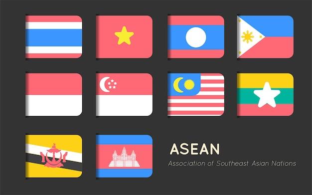 Progettazione piana di vettore dell'etichetta asiatica della bandiera