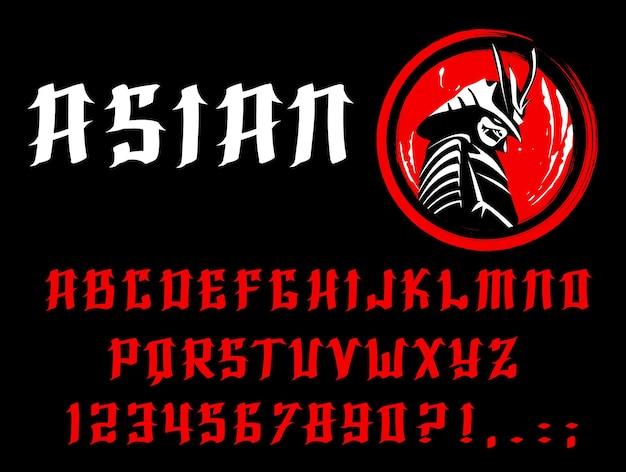 Carattere asiatico di lettere e numeri inglesi