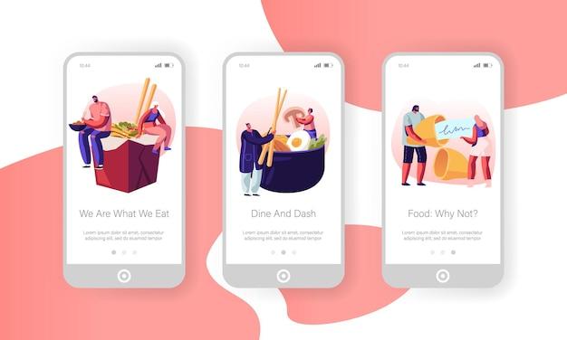 Set di schermo a bordo pagina di app mobile cibo asiatico.