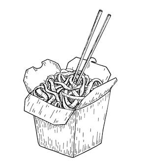 Schizzo di noodle cibo asiatico. scatola per wok. fast food asiatico. perfetto per brochure ristorante, flyer bar, menu di consegna. tagliatelle cinesi con le bacchette