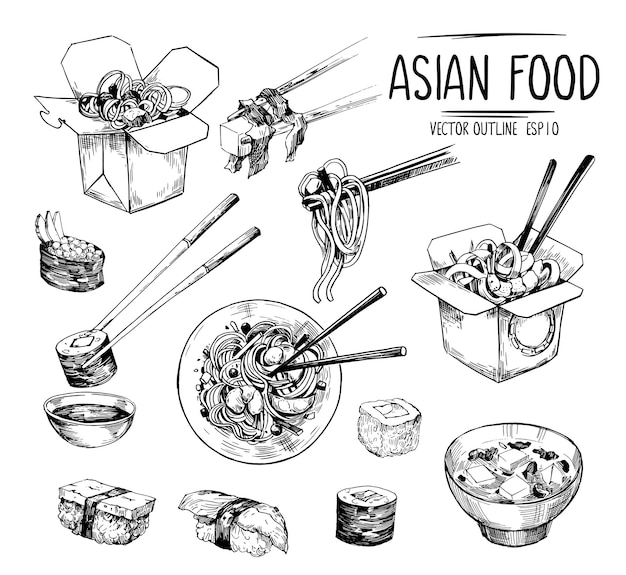 Schizzi di cibo asiatico. sushi, zuppa di miso, noodles wok. insieme di vettore isolato su sfondo bianco