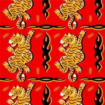 Tigre giapponese asiatica e modello senza cuciture astratto triabl. icona dell'illustrazione del personaggio dei cartoni animati disegnato a mano di vettore. giappone, cina, tigre asiatica e fuoco astratto modello senza cuciture per il concetto di t-shirt