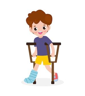 Ragazzo asiatico ferito con una gamba rotta in gesso