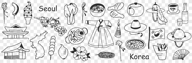 Insieme di doodle di simboli coreani asiatici