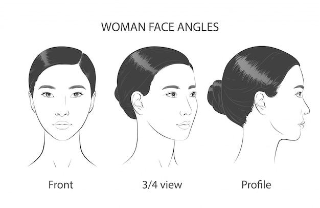 Angoli tridimensionali del ritratto delle donne coreane asiatiche. illustrazione