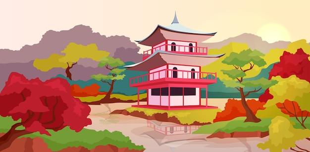 Illustrazione di colore piatto pagoda asiatica