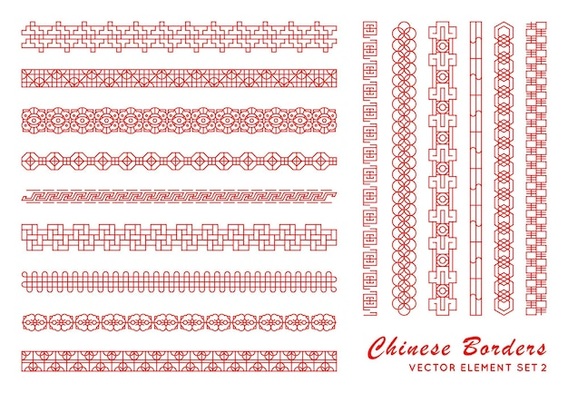 Bordo rosso asiatico impostato in stile vintage su sfondo bianco. ornamenti cinesi tradizionali