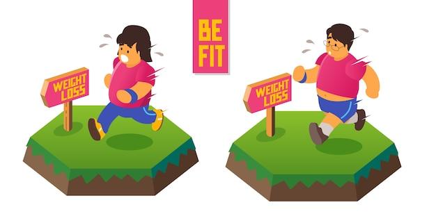 Correre asiatico per perdere peso. sii in forma e in salute