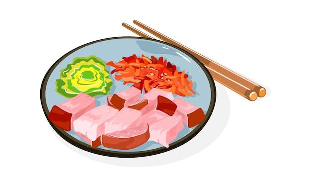 Illustrazione di piatto tradizionale asiatico