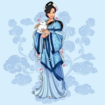 Illustrazione asiatica della dea della luna