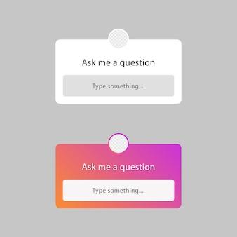 Fammi una cornice di domande per il modello di adesivo delle storie di instagram