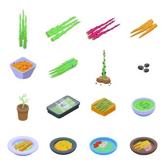Set di icone di asparagi. set isometrico di icone di asparagi per il web design isolato su sfondo bianco