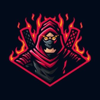 Logo mascotte assassino per giochi twitch streamer giochi esports youtube facebook