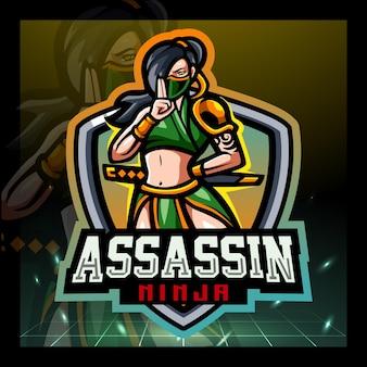 Design del logo esport della mascotte dell'assassino