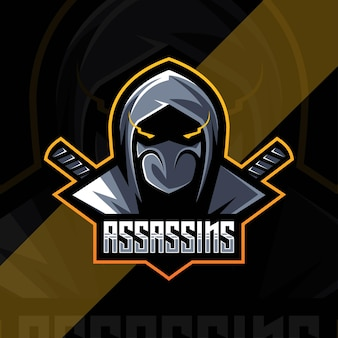 Design esport del logo della mascotte dell'assassino